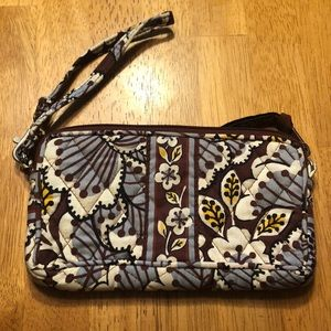 Blue and Brown Flower Wristlet